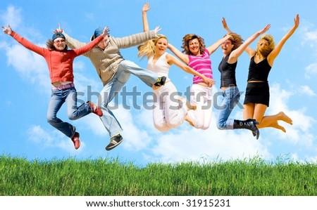 6 people jump - stock photo