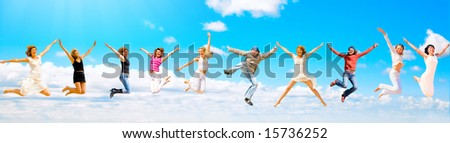 10 people jumping - stock photo