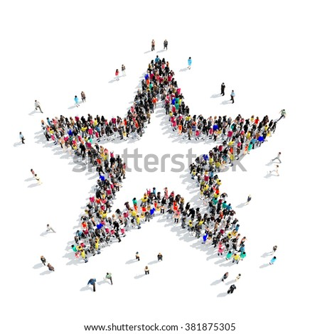 people shape  star - stock photo