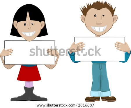 2 people with blank placards. Place whatever you like on the boards. Raster version - stock photo