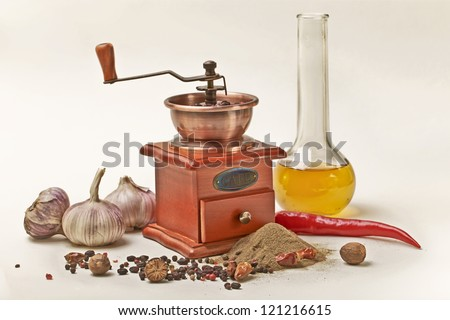 Pepper,nutmeg,Olive oil and garlic with Pepper Mill on white background - stock photo