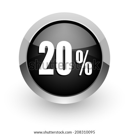 20 percent black chrome glossy web icon