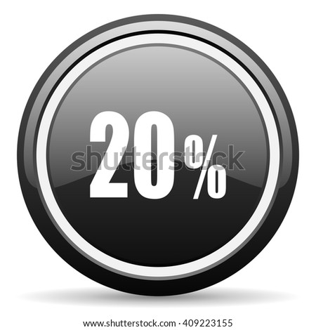 20 percent black circle glossy web icon