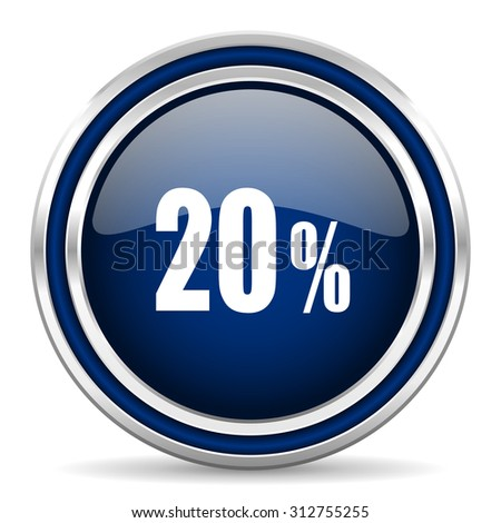 20 percent blue glossy web icon modern computer design with double metallic silver border on white background with shadow for web and mobile app round internet button for business usage
