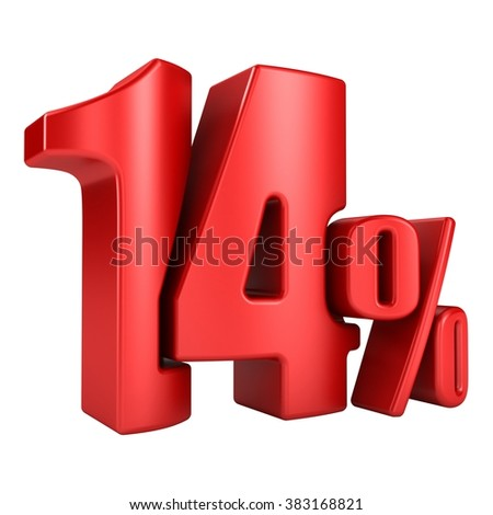 14 percent 3D in red letters on a white background - stock photo