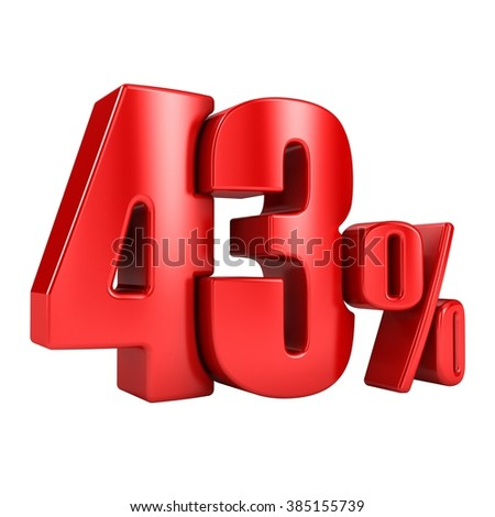 43 percent 3D in red letters on a white background