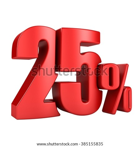 25 percent 3D in red letters on a white background - stock photo
