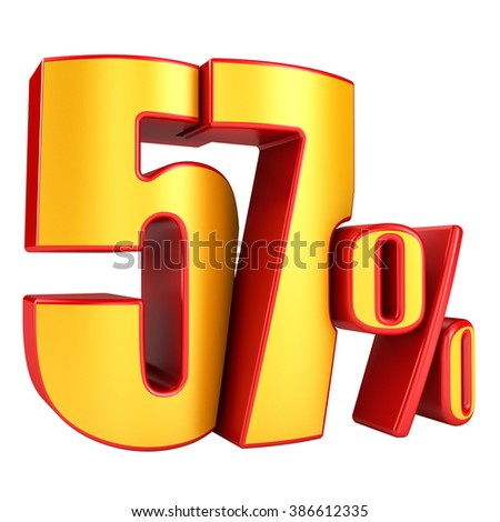 57 percent 3D letters on a white background