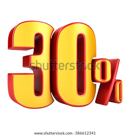30 percent 3D letters on a white background