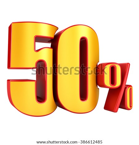 50 percent 3D letters on a white background - stock photo