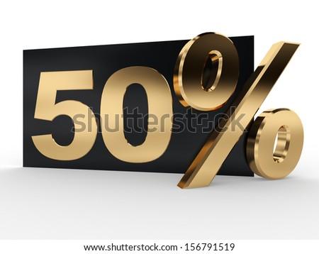 50 percent. 3d render illustration on white background - stock photo
