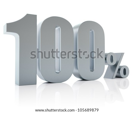 100 percent, 3D Rendering - stock photo
