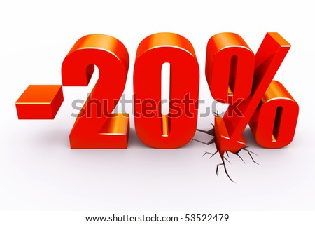 20 percent discount - stock photo