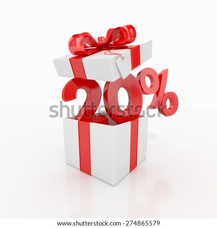 20 percent discount and gift box. sale concept. 3d render