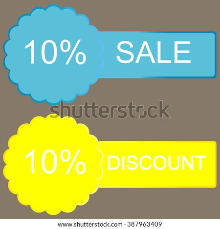 10 percent discount button on grey background - stock photo