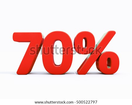 70 Percent Discount 3d Sign On White Background Special Offer Tag