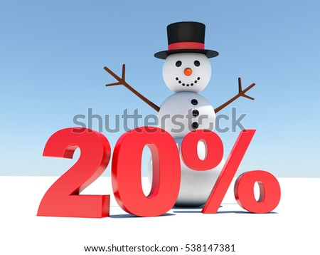 20 percent discount - Happy snowman announces winter discounts 3D render