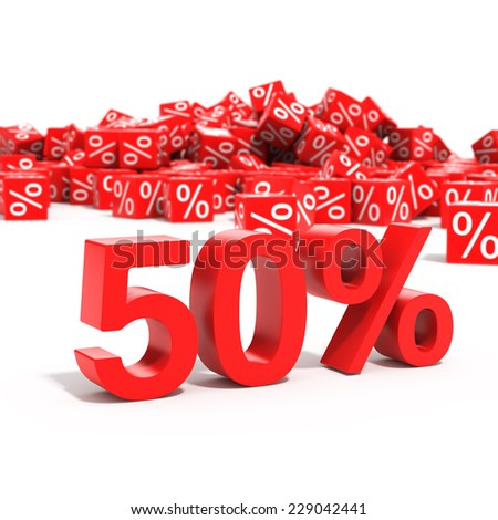 50 percent discount in focus isolated on white background - stock photo