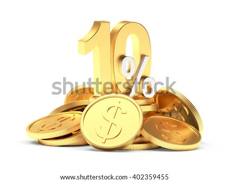 10 percent discount on a pile of golden coins isolated on white background. 3d illustration - stock photo
