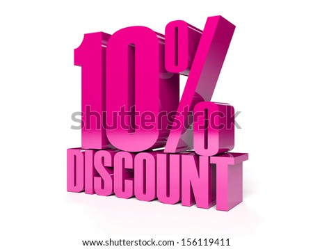 10 percent discount. Pink shiny text. Concept 3D illustration. - stock photo