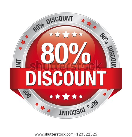 80 percent discount red silver button isolated - stock photo