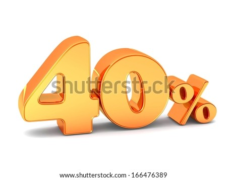 40 percent discount symbol golden color with reflection isolated white background. 3d illustration and business concept - stock photo