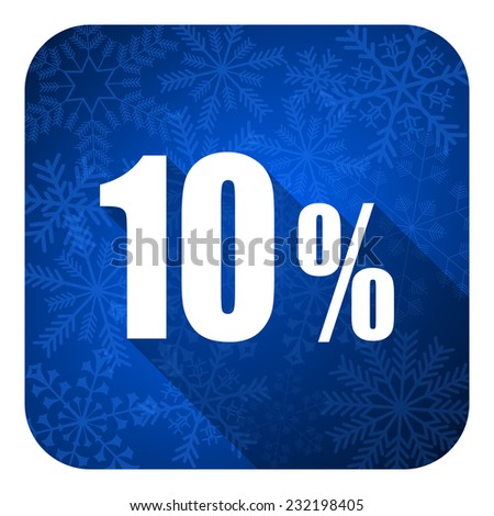 10 percent flat icon, christmas button, sale sign  - stock photo