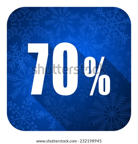 70 percent flat icon, christmas button, sale sign  - stock photo