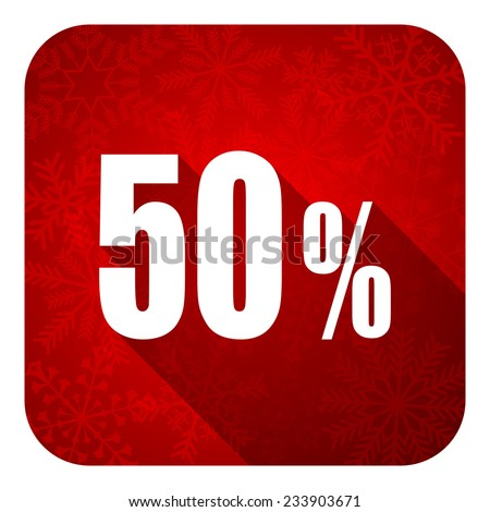 50 percent flat icon, christmas button, sale sign  - stock photo