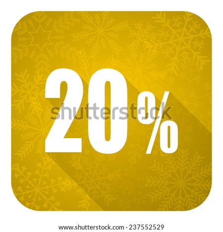 20 percent flat icon, gold christmas button, sale sign  - stock photo