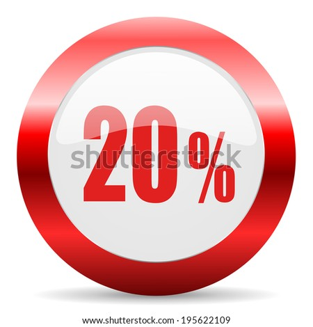 20 percent glossy web icon - stock photo