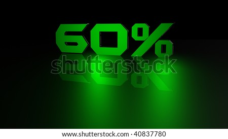 60 percent green light 3d render