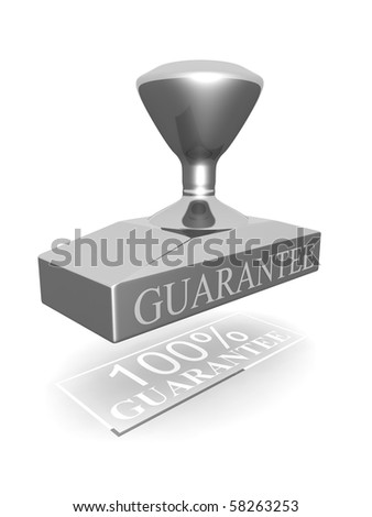 100 percent guarantee silver seal 3d illustration - stock photo