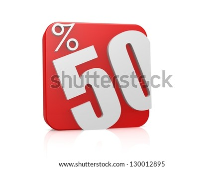 50 percent in cube - stock photo