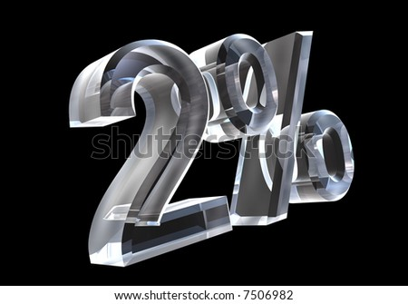 2 percent in glass (3D) - stock photo