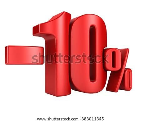 -10 percent in red letters on a white background. 3d render. - stock photo