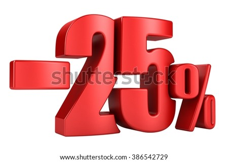 -25 percent in red letters on a white background. 3d render. - stock photo