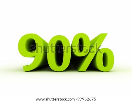 90 percent isolated on white background - stock photo