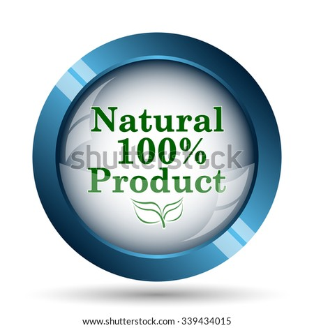 100 percent natural product icon. Internet button on white background.