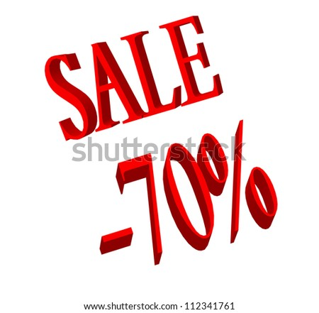 70 percent number and sale word on white