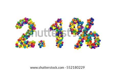 2.1 percent numeric icon in colorful balls in the colors of the spectrum in a random design isolated on white for use in advertising , retail, business and commerce as a design template