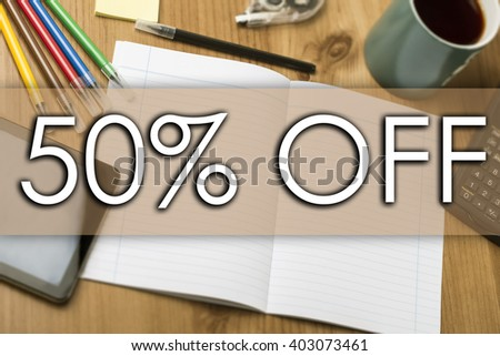 50 percent OFF - business concept with text - horizontal image