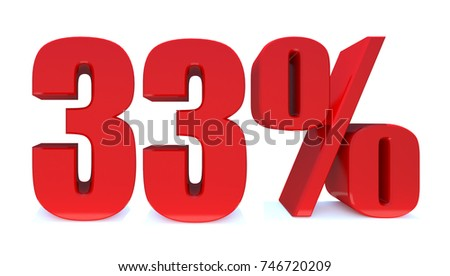33 Percent Off 3d Sign On White Background Special Offer Discount Tag