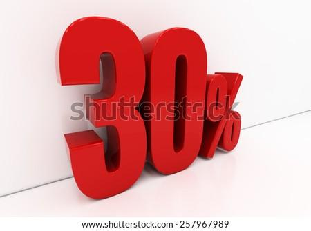 30 percent off. Discount 30. 3D illustration - stock photo