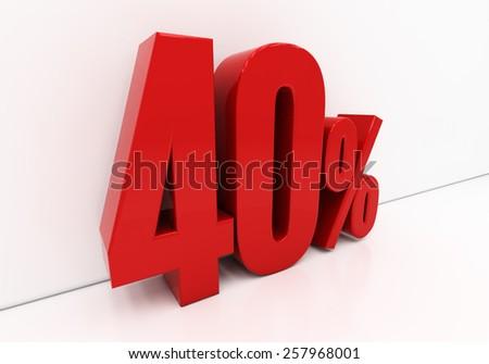 40 percent off. Discount 40. 3D illustration - stock photo