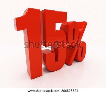 15 percent off. Discount 15. 3D illustration - stock photo