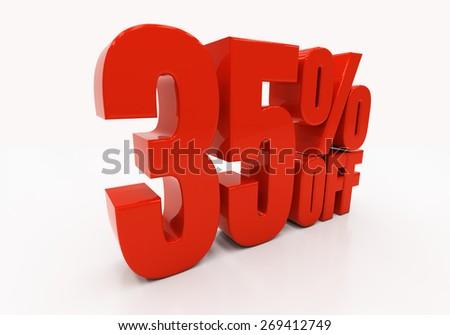 35 percent off. Discount 35. 3D illustration - stock photo