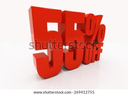 55 percent off. Discount 55. 3D illustration - stock photo