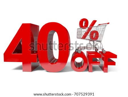 40 Percent Off Discount with a shopping cart / 3D illustration.