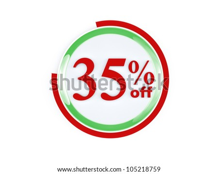 35 percent off glass isolated on white background - stock photo